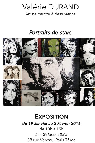 Valérie DURAND expose ses portraits de stars à la Galerie38