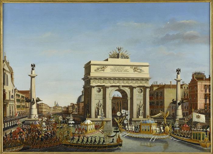 Visite de Napoléon Ier à Venise du 28 novembre au 8 décembre 1807: Entrée de l'Empereur en gondole sur le Grand Canal- après avoir été reçu par le patriarche de Venise- le cortège se rendant au palais des Procurateurs, passe sous l'arc de triomphe