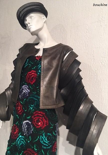 Pierre cardin robe manches cuir